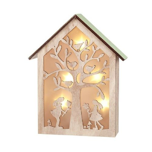 Spring Wooden LED Light Up House Box